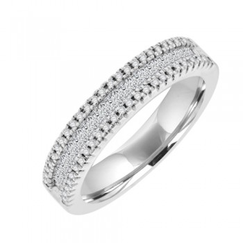 18ct White Gold 3 Row Diamond Eternity Style Ring.