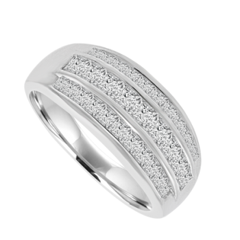 18ct White Gold 3-Row Princess cut Diamond Eternity Ring