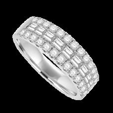 18ct White Gold Baguette Diamond 3-row Eternity ring.