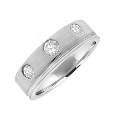 18ct White Gold 3-stone Diamond Wedding Ring