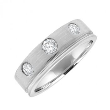 18ct White Gold 3-stone Diamond Wedding Ring