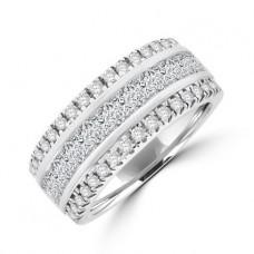 18ct White Gold Princess & Brilliant cut Diamond Eternity Ring