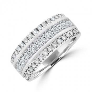 18ct White Gold Princess & Brilliant cut Diamond Eternity Ring
