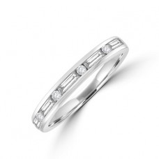 18ct White Gold Baguett & Brilliant cut Diamond Eternity Ring