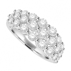18ct White Gold 3-Row Diamond Cluster Eternity Ring
