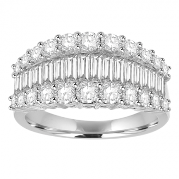 18ct White Gold 3 Row Baguette Diamond Eternity Ring