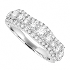 18ct White Gold 3-Row Diamond Broad Band Eternity Ring