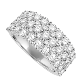 18ct White Gold 5 Row Diamond Cluster Eternity Ring