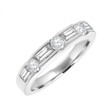 18ct White Gold Baguette & Brilliant Diamond Eternity Ring