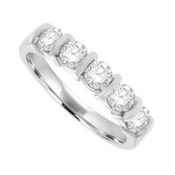 18ct White Gold 5-stone Diamond Bar set Eternity Ring