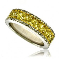 18ct White Gold Yellow Diamond 3 Row Eternity Ring