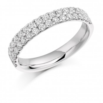 18ct White Gold Diamond Double Row Eternity Ring