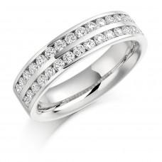18ct White Gold Diamond 2-Row Eternity Ring