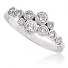 18ct White Gold 10-Stone Diamond Scatterset Eternity Ring