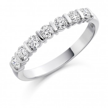 18ct White Gold 7-Stone Bar Set Diamond Eternity Ring