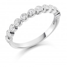 18ct White Gold 11-stone Diamond Rubover Eternity Ring