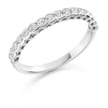 18ct White Gold 16-stone Rubover Diamond Eternity Ring