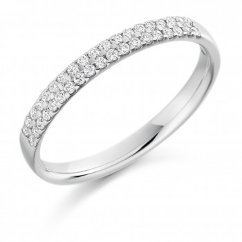 18ct White Gold Double-Row Diamond Eternity Ring