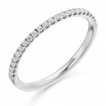 18ct White Gold Diamond Micro Claw set Wedding Ring