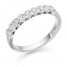 18ct White Gold 9-stone Diamond Rubover Eternity Ring
