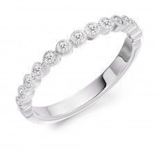 18ct White Gold Rubover Millegrain Diamond Eternity Ring