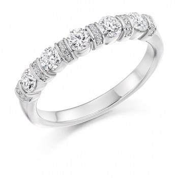 18ct White Gold 5-stone Diamond Pave Bar set Eternity Ring