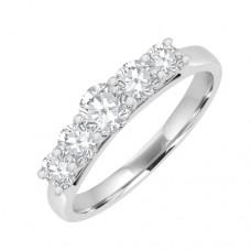 18ct White Gold 5-stone Diamond Graduated Eternity Ring