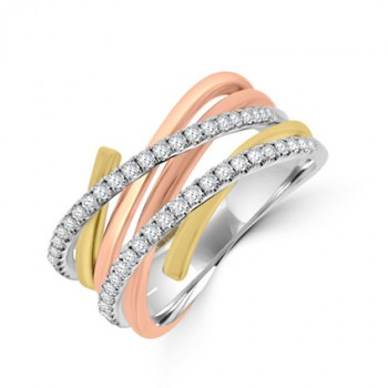 18ct Three Tone Gold Diamond Overlapping Eternity Ring