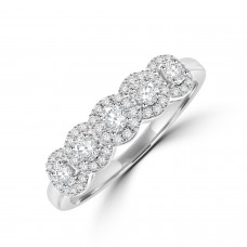 18ct White Gold 5-stone Diamond Halo Eternity Ring