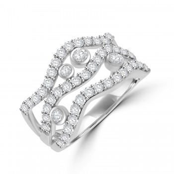 18ct White Gold 3-Row Scatterset Eternity Ring