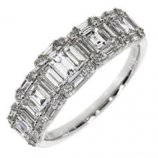 18ct White Gold Baguette Diamond Cluster Eternity Ring