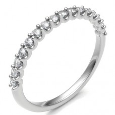 18ct White Gold .29ct Diamond Shared Loopy Claw Eternity Ring