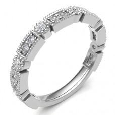 18ct White Gold Diamond Rectangle & Round Petals Eternity Ring