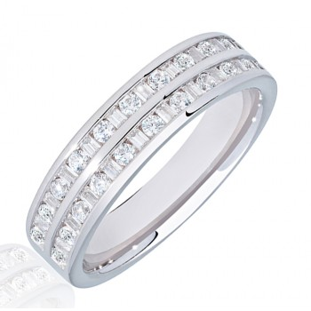 18ct White Gold Double Row Baguette Diamond Eternity Ring