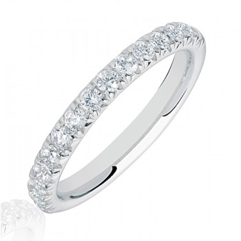 18ct White Gold .50ct Diamond French Pave Eternity Ring