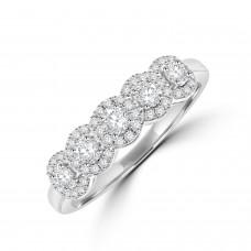 18ct White Gold Diamond Halo Eternity Ring