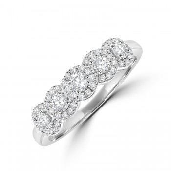 18ct White Gold Diamond Halo Eternity Ring