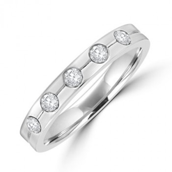 18ct White Gold 5-stone Diamond Lined Wedding Ring