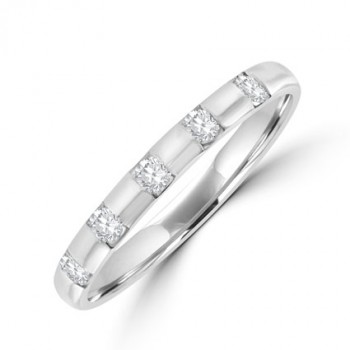 18ct White Gold 5-stone Diamond Band ring