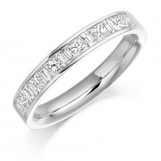 18ct White Gold Princess & Baguette Diamond Wedding Ring