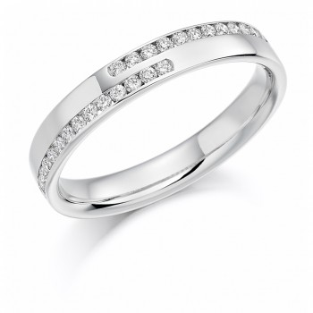 18ct White Gold Diamond Cross over Channel Wedding Ring