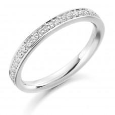 18ct White Gold Diamond Grain set Channel Wedding Ring