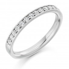 18ct White Gold Diamond Millegrain Wedding Ring