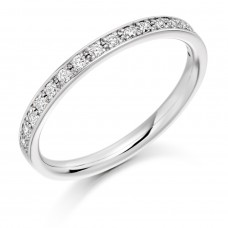 18ct White Gold Diamond Grain Set Wedding Ring