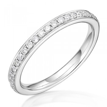 18ct White Gold .18ct Diamond Grain set Wedding / Eternity Ring