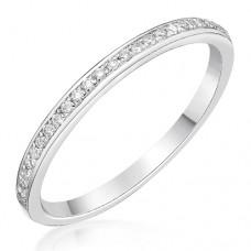 18ct White Gold .10ct Diamond Grain set Wedding / Eternity Ring