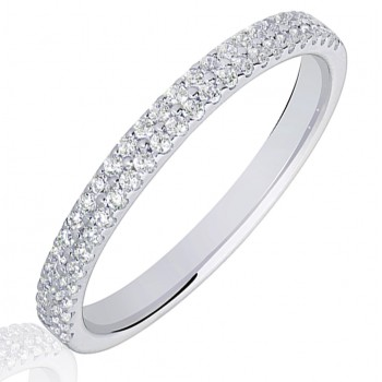 18ct White Gold Double Row Diamond Wedding Ring