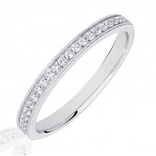 18ct White Gold .15ct Diamond Micro Claw Set Wedding Ring
