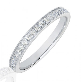 18ct White Gold .25ct Diamond Micro claw set Wedding Ring