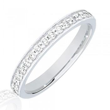 18ct White Gold .33ct Diamond Micro Claw Set Wedding Ring